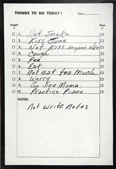 Johnny Cashs To-Do List