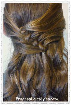 Diagonal knots half up hairstyle tutorial
