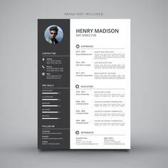 Modern simple template for curriculum Vector Simple Resume Template, Resume Design Template, Cv Template, Creative Resume Templates, Modelo Curriculum, Cv Curriculum, Fond Design, Design Plat, Infographic Resume