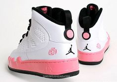 White and pink Jordans for the guys