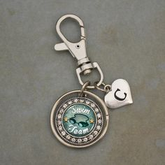 premium selection abf07 88873 Custom Initial Swim Team Artisan Key Chain