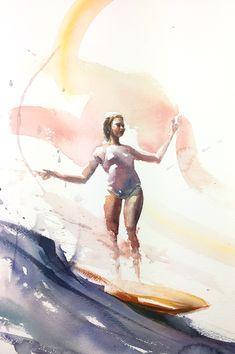 Watercolors, Watercolor Paintings, Longboarding, Surf Art, Surfing, Sculptures, Challenge, Waves, Ocean