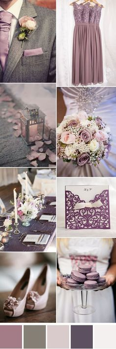mauve and grey neutral wedding color ideas
