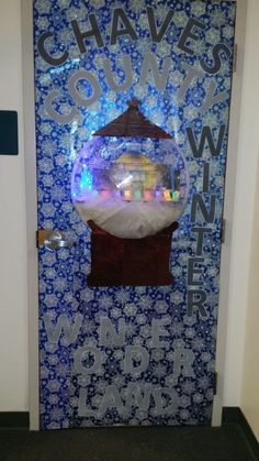 Theme was Chaves County Winter Wonderland Snowglobe. It displays actual County building wi. Christmas Door Decorating Contest, Winter Wonderland Decorations, School Door Decorations, Office Christmas Decorations, Christmas Village Display, Christmas Globes, Christmas Tree, White Christmas, Christmas Crafts