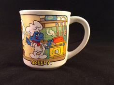 Smurf Coffee Mug Greedy Ceramic Collectables MUG 1982 #1600 Wallace Berrie Co