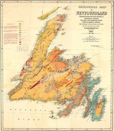 James Howley's 1919 geological map of Newfoundland Newfoundland Map, Newfoundland And Labrador, Newfoundland Recipes, Vintage Maps, Vintage Travel Posters, Gros Morne, Voyager Loin, Atlantic Canada, Canada Travel