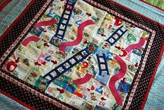 I absolutely love this idea! Chutes and Ladders wall quilt for kids room, or G'ma's play room for grandkids!