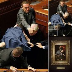 """When is a brawl in the Ukrainian Parliament actually a work of Renaissance art?"" Well, when someone captures a photo of the fight that looks like this:"