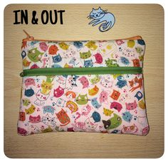 DOUBLE ZIPPER POUCH con retro in ecopelle gialla