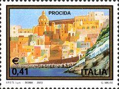 """2003 -  """"Il turismo"""": Procida,  scorcio di 'Marina Corricella', uno dei primi borghi abitati dell'isola, con la Chiesa di S. Maria delle Grazie"""