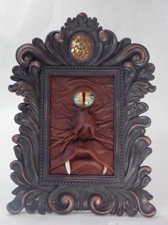 3D Leather Wall Art Monster Picture Creature Portrait Brown Leather Monster LARP