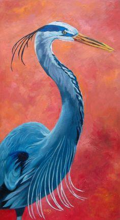 """RK Ives Original Oil Painting: Great Blue Heron, Bird 12""""X24"""" #Realism"""