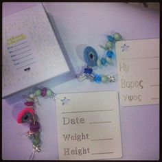 new born birth details on a wooden charm & beads