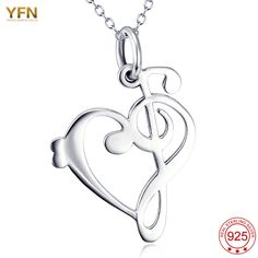 YFN 2016 New Design 925 Sterling Silver Jewelry For Women Heart Pendant Necklaces Lovely Music pendant 18inch Chain GNX11964 #Affiliate