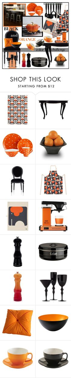 """Black & Orange Kitchen"" by nancyreo ❤ liked on Polyvore featuring interior, interiors, interior design, home, home decor, interior decorating, Orla Kiely, Maxwell & Williams, Le Creuset and Typhoon"