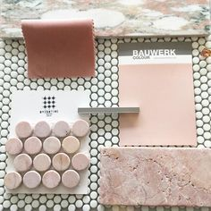 F R I D A Y F L A T L A Y The prettiest little flat lay today created by the lovely using our new micro glass dot mosaics Rosario tumbled pink marble penny rounds and Oslo Norwegian marble together. Paint finish by luxe pink velvet by Simply delicious Mood Board Interior, Interior Design Boards, Deco Design, Tile Design, Pink Tiles, Penny Tile, Material Board, Design Palette, Handmade Tiles