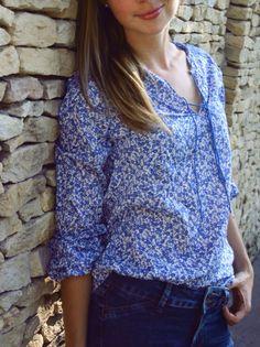 Boho tunic, royal blue floral blouse, boho ethnic tunic, hippie tunic, long-sleeved floral tunic, oriental tunic, hippie blouse