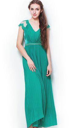 Green V-neck Lace Cap Sleeve Beading Pleated Long Chiffon Dress - Sheinside.com