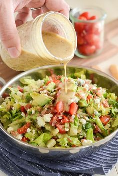 16 Restaurant Copycat Recipes You Can Make Yourself Copycat Maggiano's Chopped Salad Recipe! Crispy pancetta, avocado, tomatoes, blue cheese (or gorgonzola) and a delicious homemade dressing! Italian Chopped Salad, Chopped Salad Recipes, Green Salad Recipes, Salad Dressing Recipes, Chef Salad Recipes, Lettuce Salad Recipes, Chopped Salads, Italian Salad Recipes, Cheesecake Factory Chopped Salad Recipe