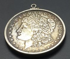 1896 Silver Morgan Dollar Pendant Sterling Silver  Bezel  Coin Collector Gift Anniversary  Birthday Gift Stocking Stuffer by Fraservalleyjewels on Etsy