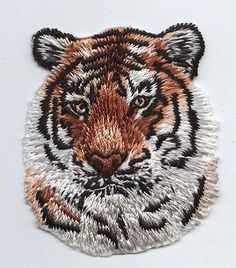 Iron-On Applique Embroidered Patch Natural Orange Striped Tiger Face Head