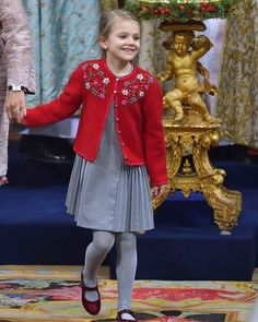 Princess Estelle of Sweden, who looked Christmassy in an embellished red cardigan attends the christening of her cousin Prince Gabriel at the Drottingholm Palace Chapel in Sweden. Princess Estelle, Crown Princess Victoria, Swedish Royalty, Kids Fashion, Fashion Outfits, Royal Life, Celebrity Kids, Red Cardigan, Stylish Kids