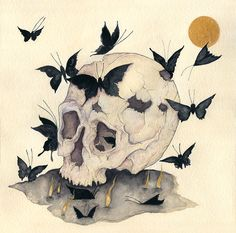 """Liza Corbett. Death and the After-Life. Ink, watercolor and gouache on paper, 16""""X16"""".    http://lizacorbett.com/"""
