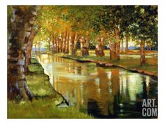 Canal at St. Remy Stretched Canvas Print by Sarah Waldron at Art.com