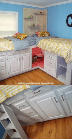 20 Lit Small Bedroom Organizing Ideas Worth Trying - Simphome Old Cabinets to Two Bunk Beds with Storage for Girls via simphome ideas master modern head boards Bunk Beds With Storage, Bunk Beds With Stairs, Cool Bunk Beds, Bed Storage, Storage Ideas, Bunk Beds For Girls Room, Kid Beds, Girls Bedroom, Kid Bedrooms