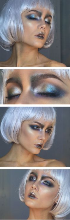 Metallic eyes, fancy dress?