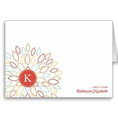 Colorful Blooming Blossom with Monogram Greeting Card - Personalized Folded Note Card