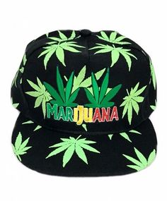 760202523a7 Rasta Marijuana Green Leafs Snap back Hat Snapback Weed Neon Patch Floral  Print  Clover