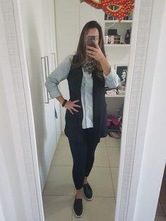 Blusa jeans + preto