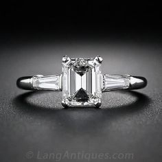 1.08 Carat Emerald-Cut Diamond Engagement Ring - 10-1-4783 - Lang Antiques