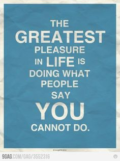 The greatest pleasure in life is doing what people say you cannot do.