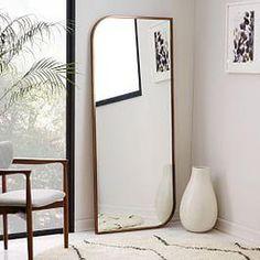 Metal Framed Floor Mirror - Rose Gold