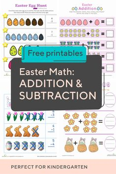 Your child will master basic math building blocks with this collection of kindergarten Easter addition and subtraction worksheets. Teaching Subtraction, Addition And Subtraction Worksheets, Addition Activities, School Information, Math Help, Kindergarten Lessons, Math Practices, Basic Math, Writing Numbers