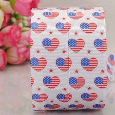 """free shipping 50 yards 7/8 """" 22mm heart with America flag pattern print grosgrain tape 4th July independence day ribbon DIY"""