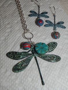 Dragonfly Jewelry. Dragonfly Set. Dragonfly Necklace. Dragonfly Earrings. Rainbow Calsilica