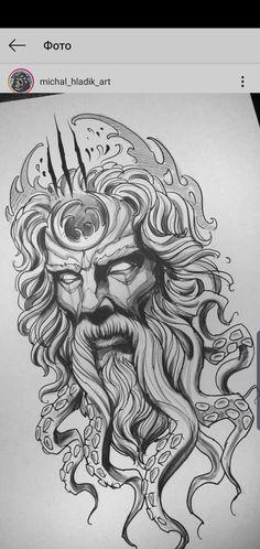Quero fazer Sketch Style Tattoos, Tattoo Design Drawings, Tattoo Sketches, Tattoo Designs, Zeus Tattoo, Poseidon Tattoo, Poseidon Drawing, Forearm Tattoos, Arm Band Tattoo