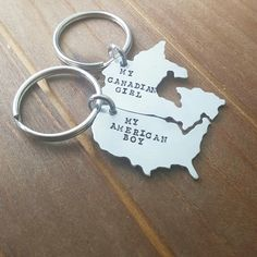 Totally crush worthy! Custom map key chains by DreamWillowStudio on Etsy