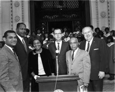(L-R) Billy Mills, Tom Bradley, Vassie D. Wright, Kenneth Hahn Gilbert Lindsay, and Frank King (president of All City's Employee Association). Photo by Charles Williams. Afro, Presidents, Toms, African, Unity, Photographs, King, Image, Collection