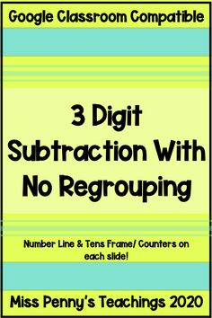 Visit my Teachers Pay Teachers store to check out this digital math resource compatible with Google Classroom. Students can practice subtracting 3 digit numbers with regrouping. Each slide is equipped with tools to support subtraction. Math Resources, Math Activities, Place Value Chart, Work Review, Place Values, Google Classroom, My Teacher, Numbers, Students