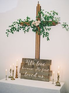 Featured Photographer: Jeremiah and Rachel Photography; wedding flowers altar catholic Elegantly Chic Rustic Wedding in Montana with Colorful Details - MODwedding Wedding Cross, Mod Wedding, Wedding Signs, Fall Wedding, Dream Wedding, Wedding Card, Garden Wedding, Chic Wedding, Wedding Styles