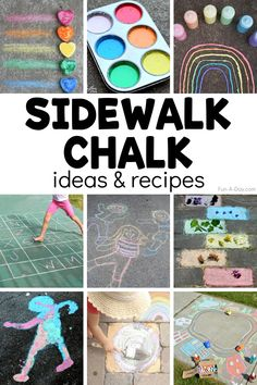 A huge list of sidewalk chalk ideas and recipes! There are so many ways to learn and play with sidewalk chalk, and with this awesome list, you'll never run out of activities! Great ways to keep the kids outside and being creative.