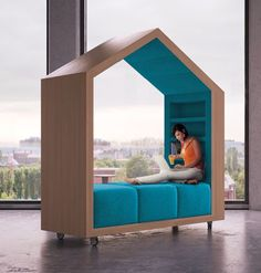 modular room rendered blue I like that these can be slotted together or rolled apart. Also the cushion seats are all movable.  I would like a few of these for outside but with flyscreens. Oh and in black with purple cushions...
