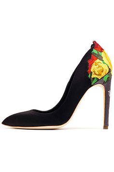 Rupert Sanderson Black Pumps with Floral Heel Spring 2014 #Shoes #Heels