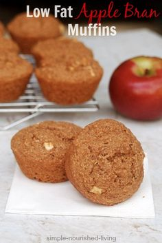 Healthy Low Fat Apple Bran Muffins, moist & delicious, high fiber, Weight Watchers Recipes with Points Plus (4 pt+), Low Calorie Breakfast Recipes (163 cal)