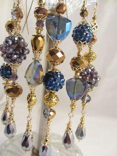 Blue Gold Purple Christmas Dangle Ornaments by LaReineDesCharmes, $36.00