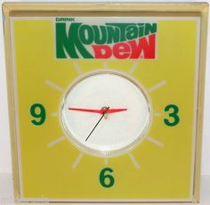 Vintage soda pop clock sign DRINK MOUNTAIN DEW light up